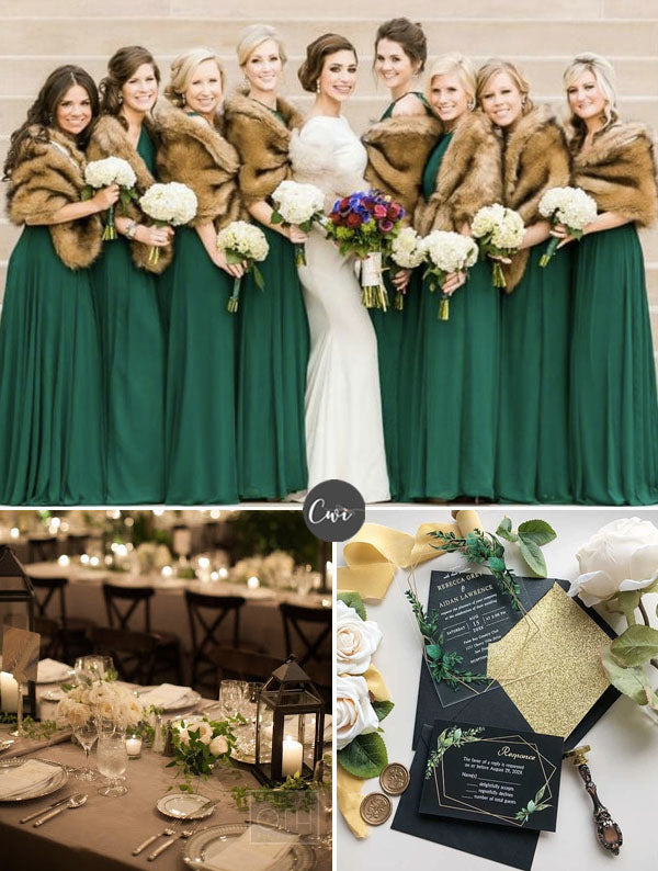 GREEN JADE&BROWN Unique Cozy Winter Wedding Colors To Be Stunning
