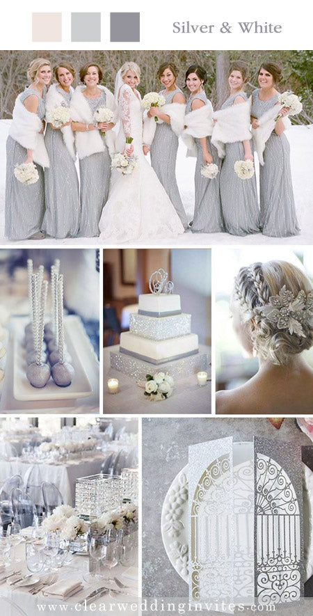Silver and White Theme and Invites for a Winter Wedding