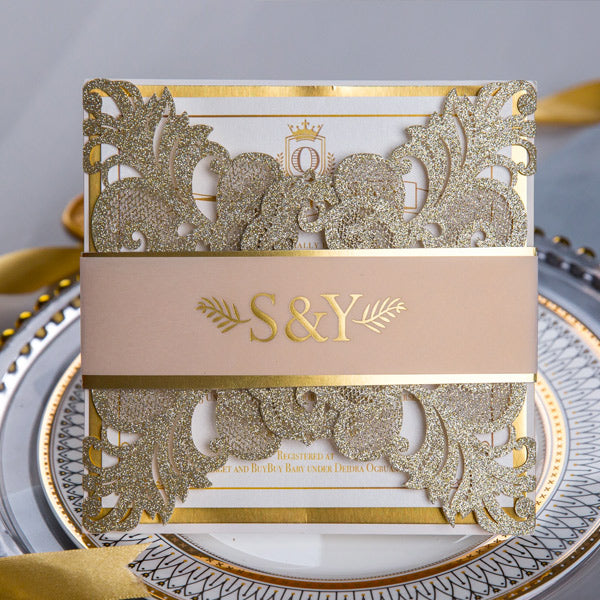 Gorgeous Wedding Invitations with Gold Foil Details