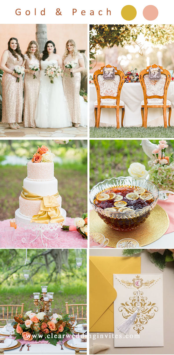 Gold and Peach Wedding Color Ideas for 2022