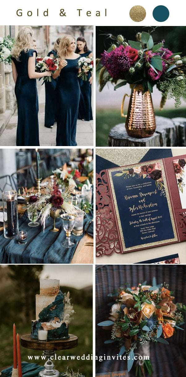 Gold teal dark moody jewel tone Wedding Color Ideas for 2022