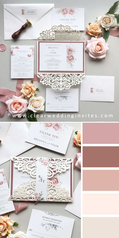 Gorgeous garden dusty rose pink floral watercolor wedding invitations CWIL32