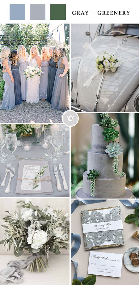 Fabulous gray and greenery Wedding Colors for 2022 Wedding Trends
