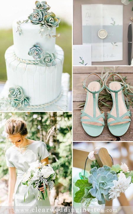 Shades of Grayed Jade Green Wedding Color Palette and Matching Wedding Invitations