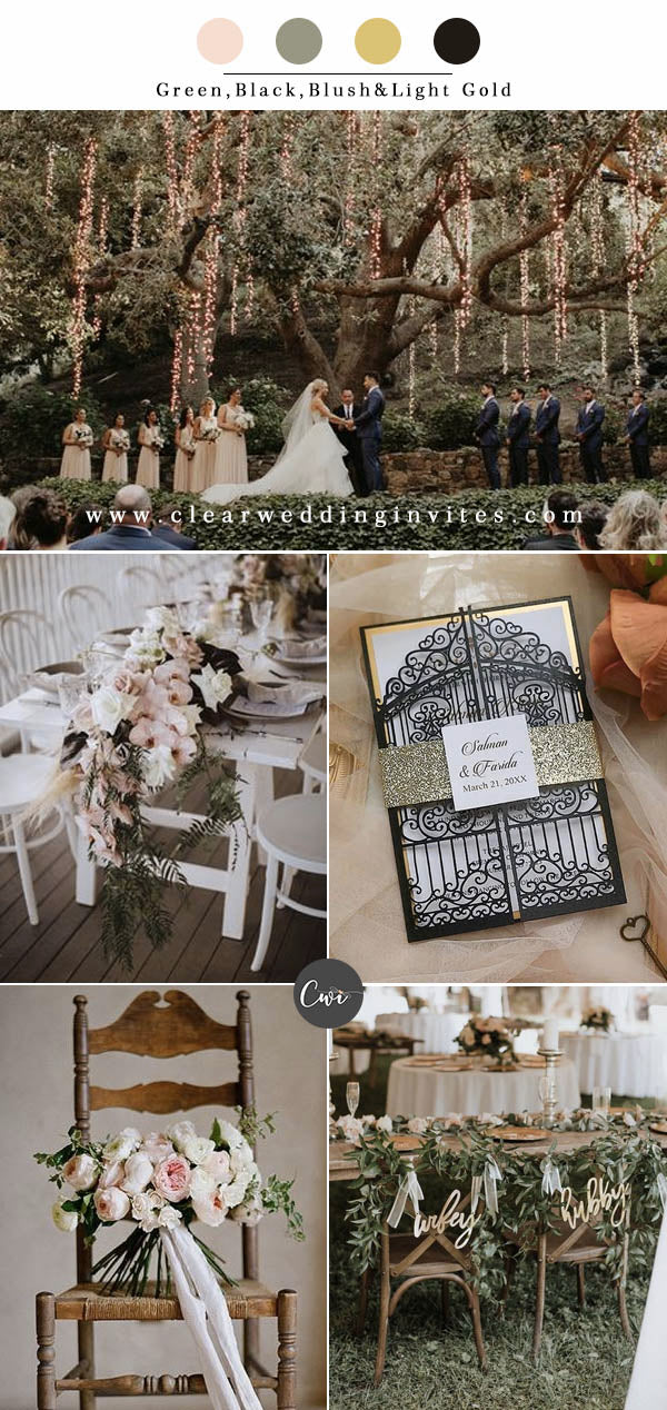 Green,Black,Blush&Light Gold Wedding Color Combos for Late Winter and Early Spring