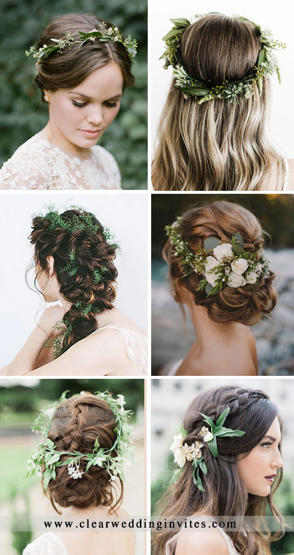 Greenery Bridal Hairstyles & Hairpiece