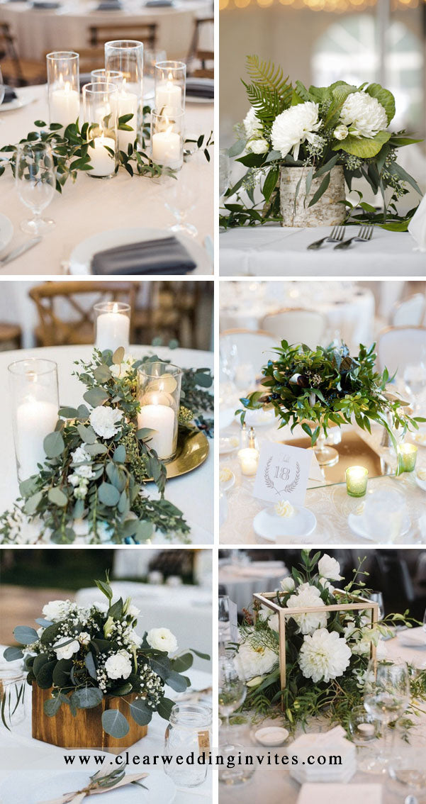 Greenery wedding Centerpiece Decor Ideas with lights and candles