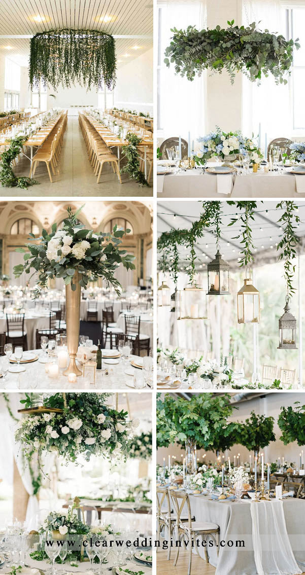 Greenery wedding reception Decor Ideas with lights and candles