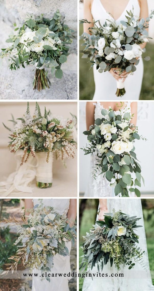 Rustic Greenery and Floral Wedding Bouquets Ideas romantic and elegant wedding with gorgeous green plants