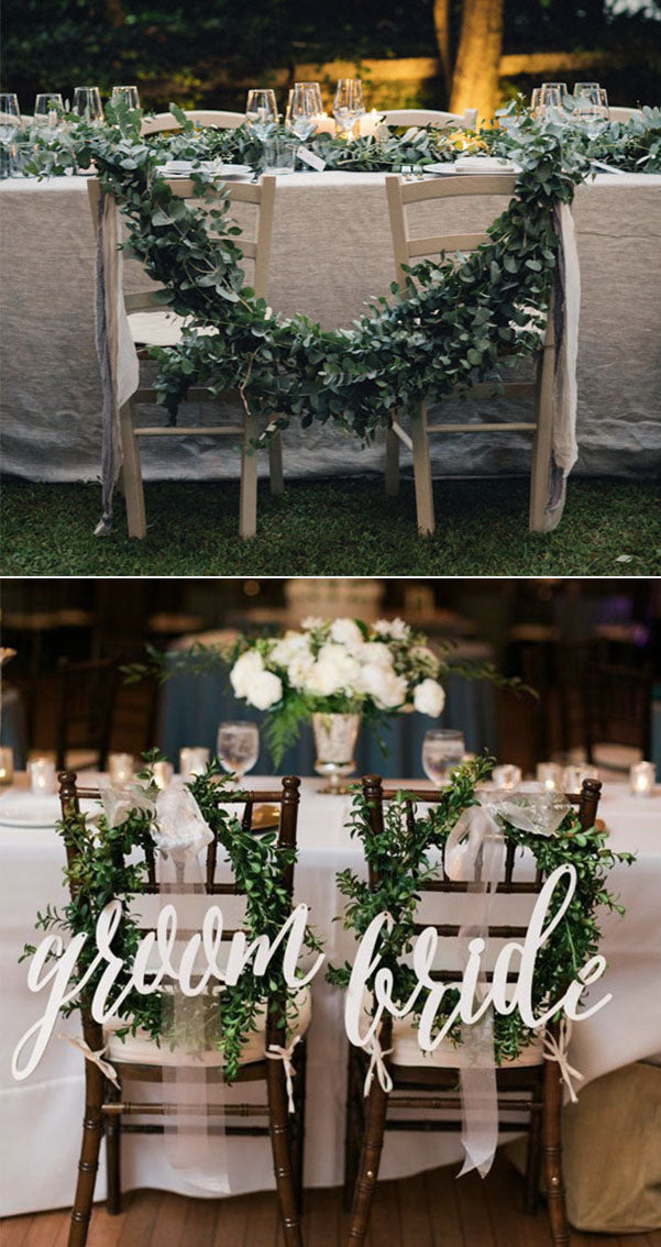 Greenery Wedding Chair Decor Bride and groom chairs MR and Mrs Wedding Chair
