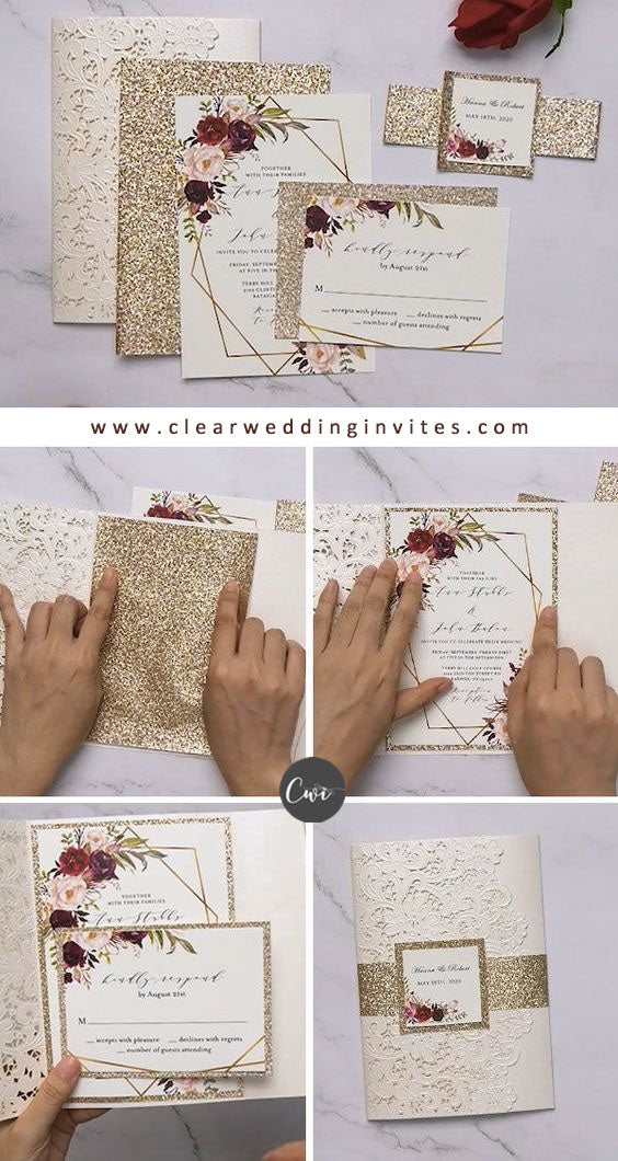 HOW TO ASSEMBLE INVITES ivory laser cut pocket wedding invitations floral pattern wording