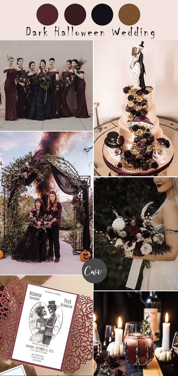 Burgundy and Black Wedding Colors and Rustic Wedding Invites