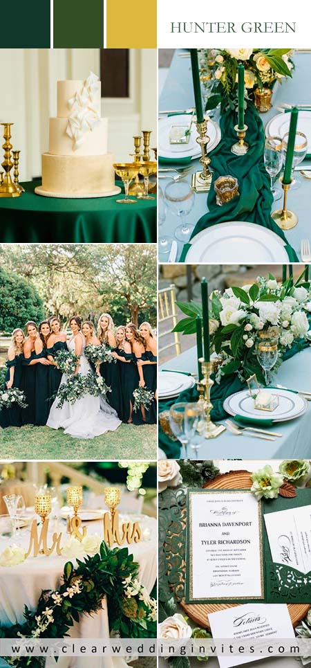 Hunter Emerald Green and Gold Wedding Color Ideas You'll Love