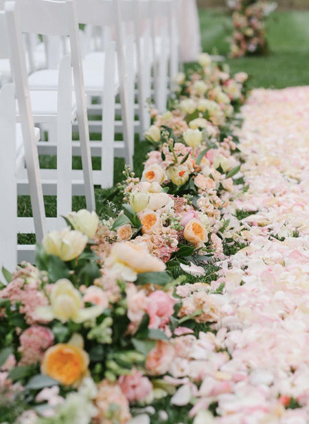 Insta-Worthy-Lush-Bright-Peach-and-Pink-Flower-Ideas-We've-Ever-Seen-_-Wedding-aisle-decorations,-Ceremony-flowers,-Aisle-flowers