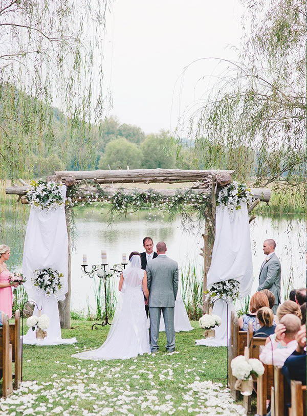 Rustic Chic Lakeside outdoor wedding ceremony