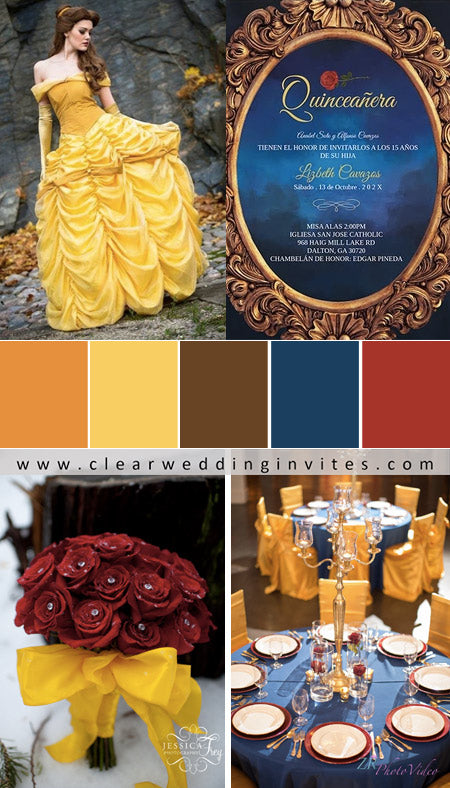 Laughing-Orange,-Belle-yellow,-Polished-Mahogany,-Frank-Blue,-Cherry-Tomato-Beauty-and-the-beast-wedding