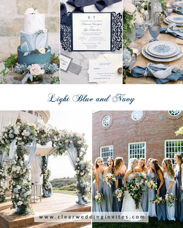 light blue and navy blue amazing Spring and Summer Wedding Colors