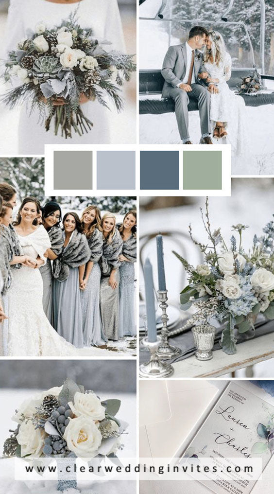 Light Grey and Silver Green Winter Wedding Color combs for 2021