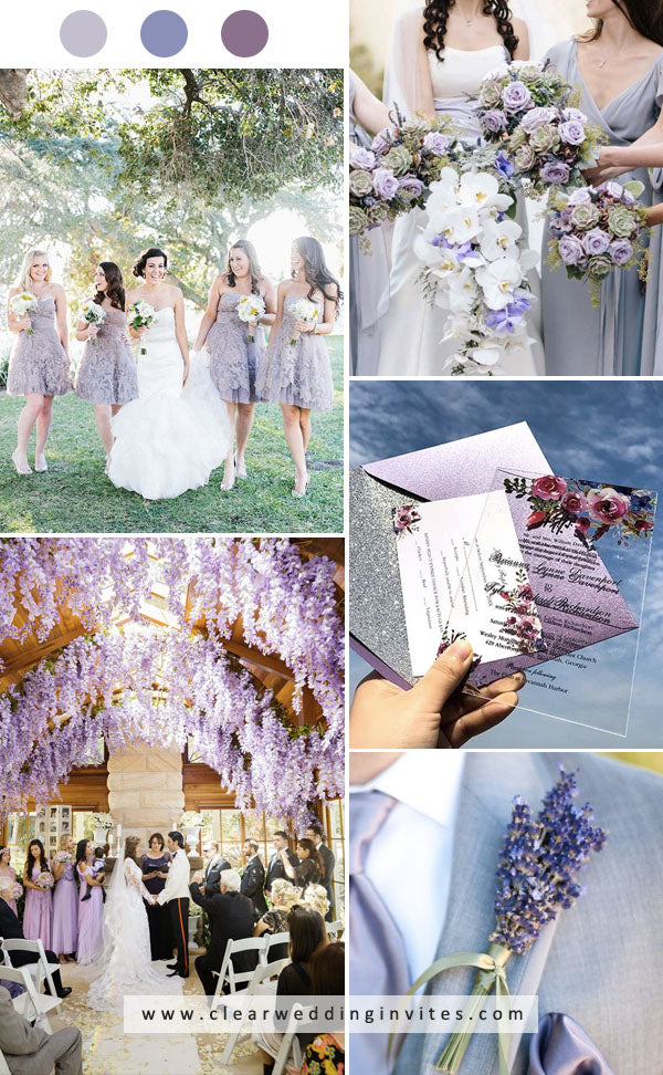 choose light and darker lavender purple color in your bridesmaid dress, attire and floral decisions