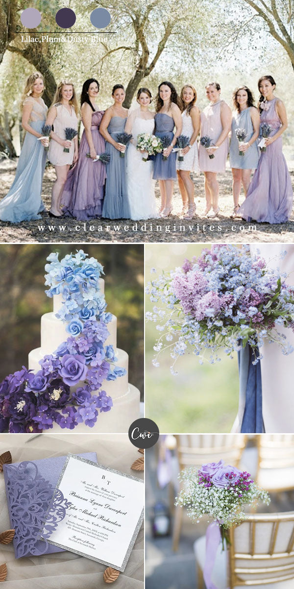 Lilac, Plum & Dusty Blue Amazing Wedding Color Combos for Late Winter and Early Spring