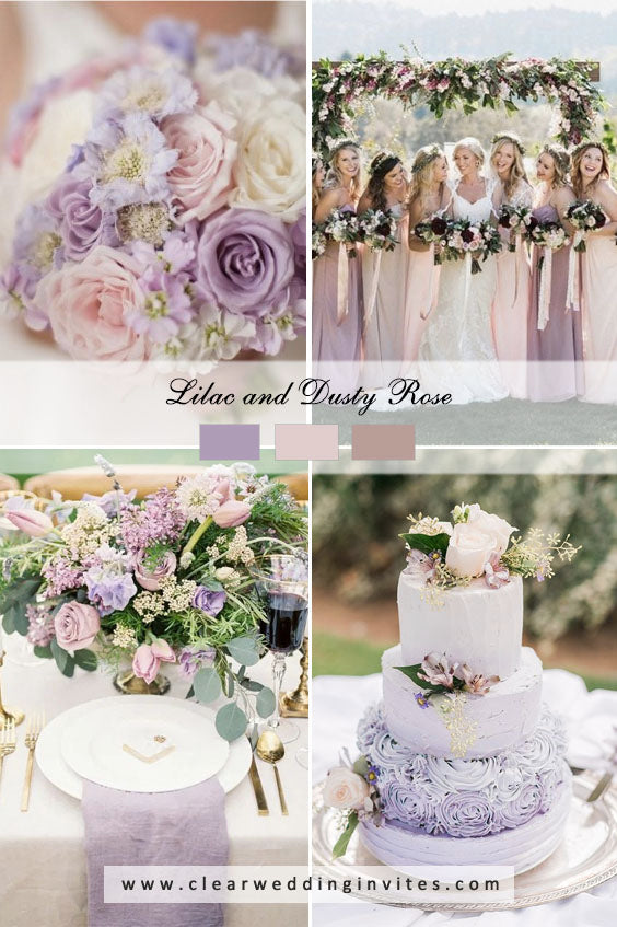 Lilac and dusty rose Great Wedding Color Palettes For Spring & Summer 2022