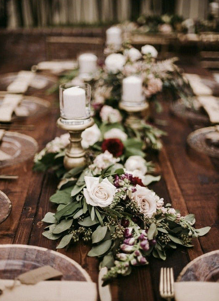 Lush-Wedding-Green-floral-Garland-Runner-Ideas-for-Your-Reception-Tables,Fall-wedding-tables,-Burgundy-wedding-table