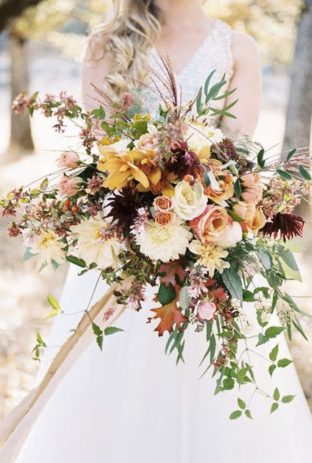 Lush,-Grand,-Bohemian-Bridal-Bouquets-with-luxe-ribbon