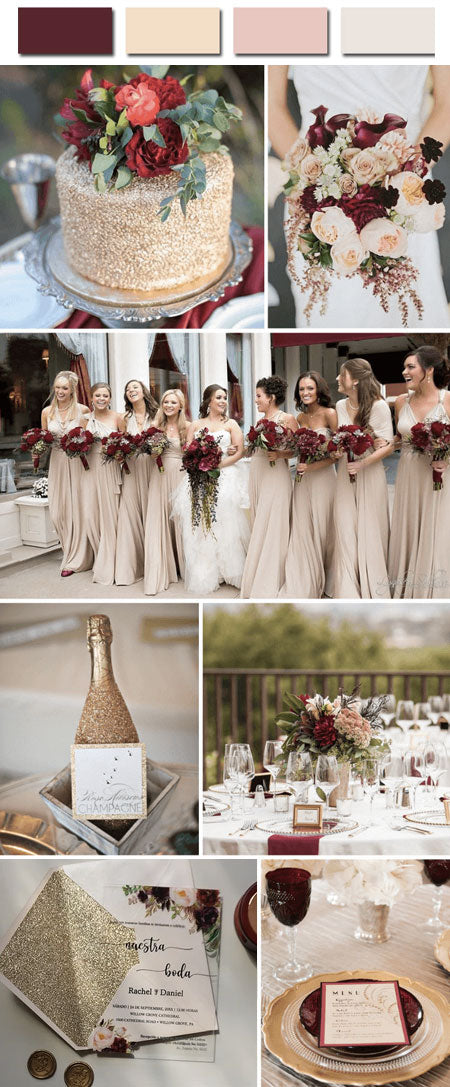 Popular Marsala, tan and champagne gold Wedding Color Combos to Rock Your World