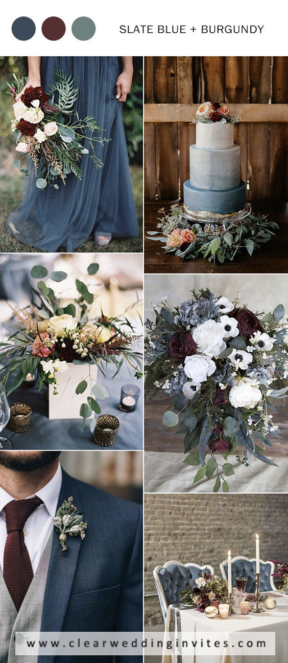 Marsala, shades of brown and dusty blue luxurious color combos for fall wedding