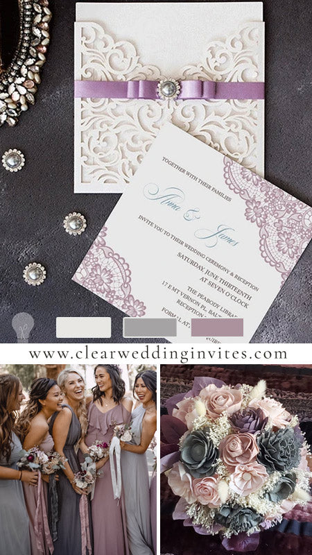 Mauve Country Lace Embellishment Laser Cut Pocket Wedding Invitations CWIL64