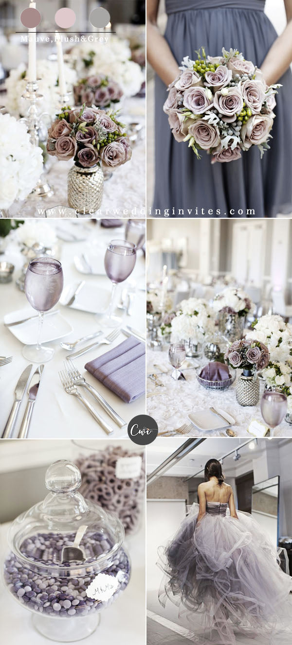 Mauve,Blush&Grey Wedding Color Combos for Late Winter and Early Spring