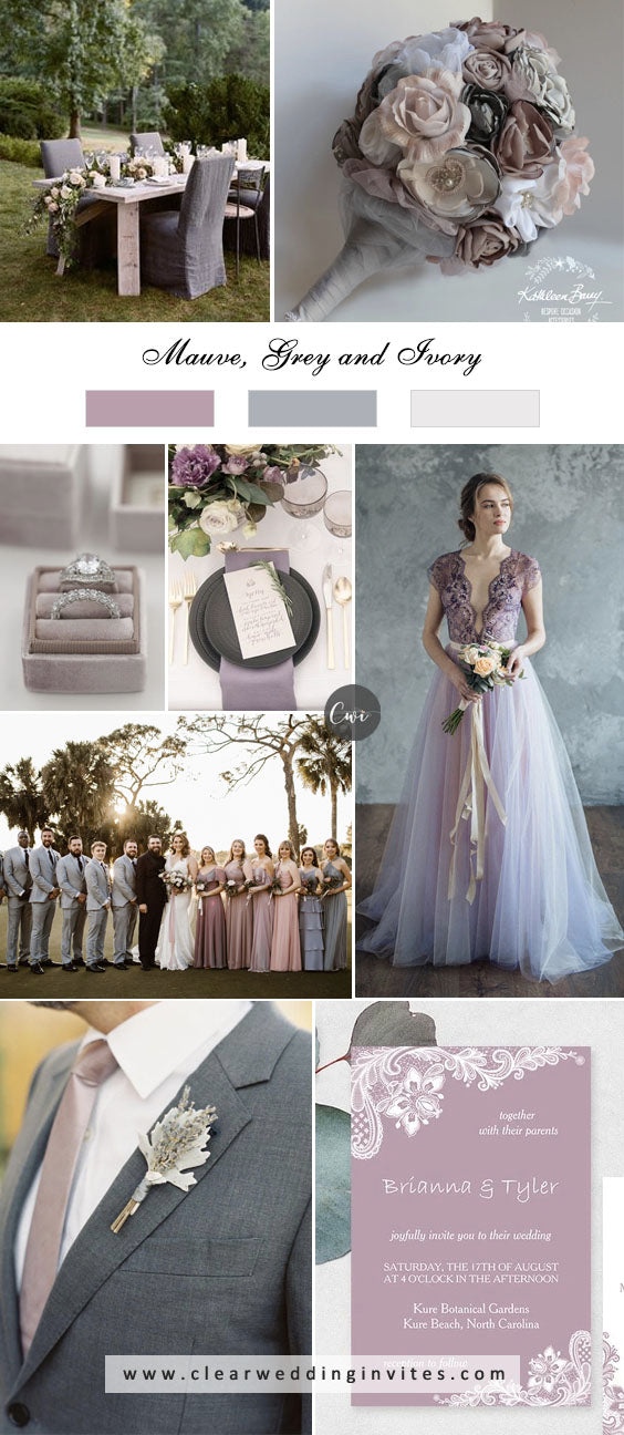 Mauve, Grey and Ivory breathtaking NEUTRAL WEDDING COLOR PALETTE IDEAS in 2022