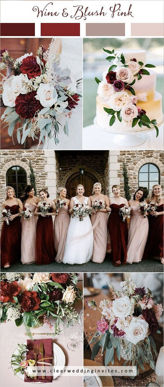 Mauve, wine and blush pink Great Wedding Color Palettes For Spring & Summer 2022