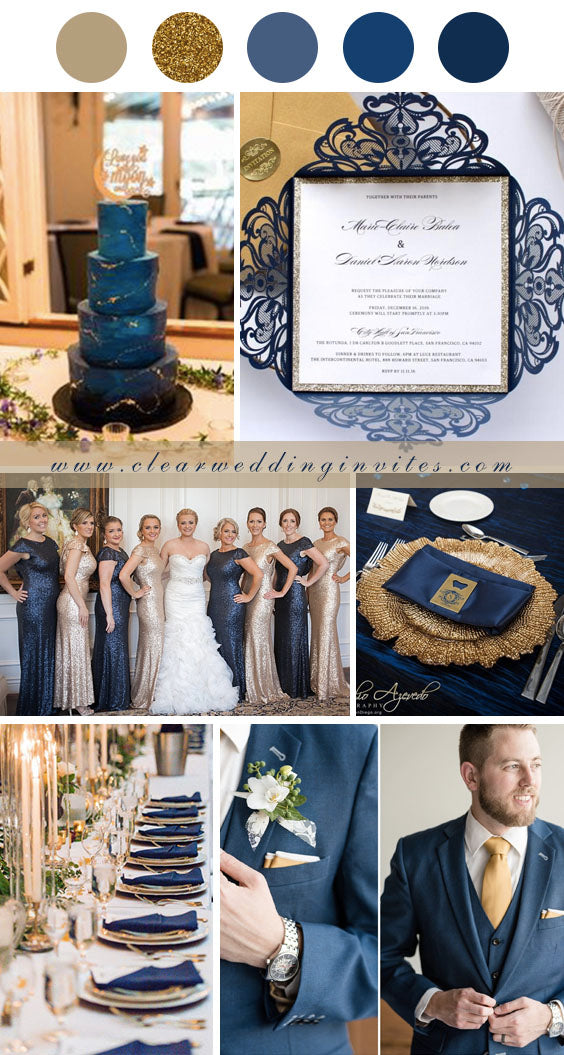 Midnight Blue and gold make your big day truly shine