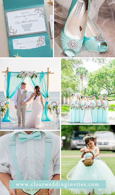 Mint Green Wedding Inspirations and Matching Wedding Invites