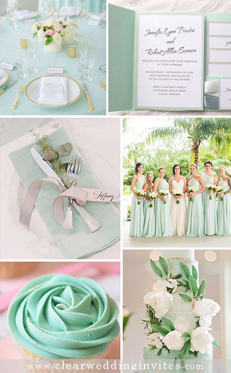 Shades of Mint Green Wedding Color Palette and Matching Wedding Invitations