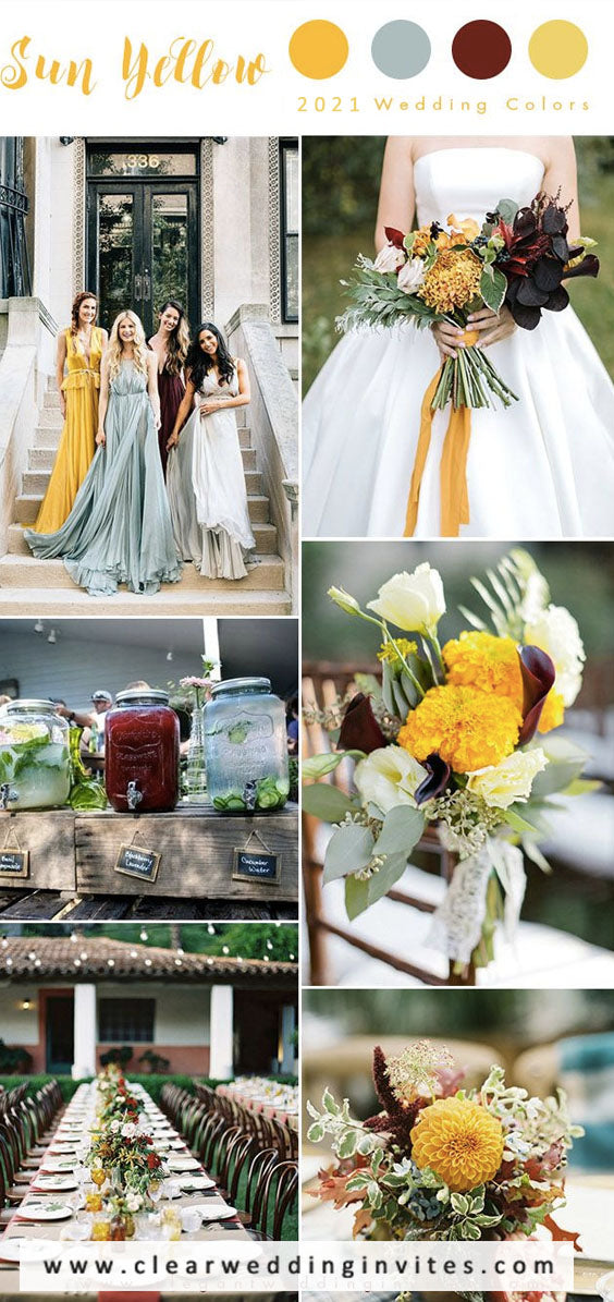 Mustard yellow, orange red and cedar wood Earth Tone Fall Wedding Color Palettes
