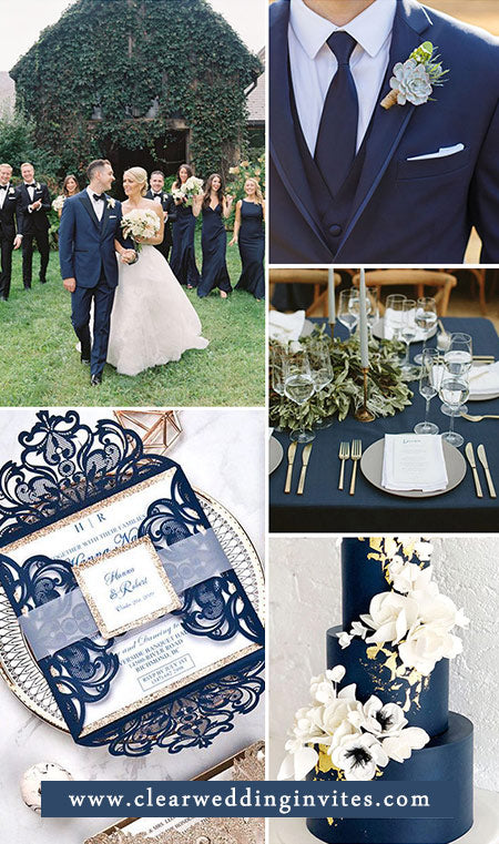 Fabulous Navy Blue and Rose Gold Wedding Colors for 2022 Wedding Trends