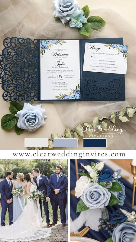 Navy, Dusty Blue and Light Blue Floral Rustic Pocket Wedding Invitations CWIL46