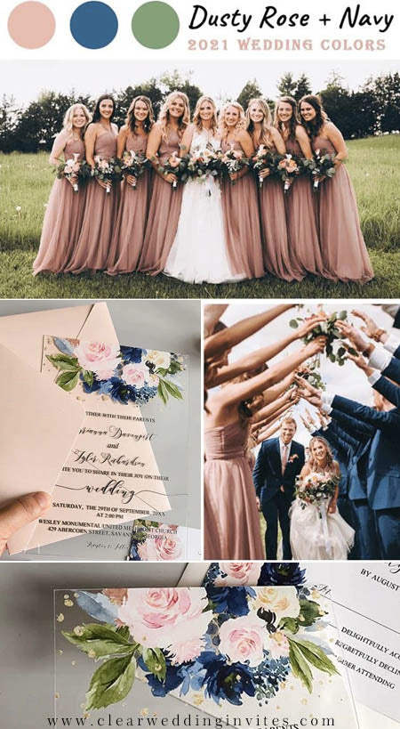 Romantic Pink and Navy Wedding Colors and Invitations in Metallic and Glitter