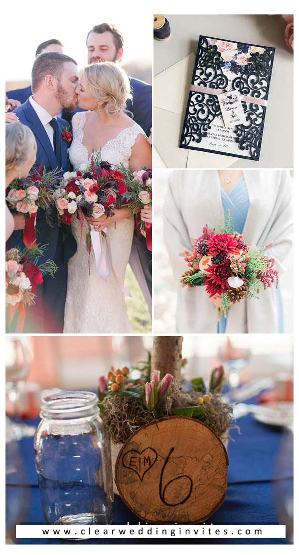Elegant Navy Blue and Burgundy Wedding Color Ideas  with Matched Wedding Invitations