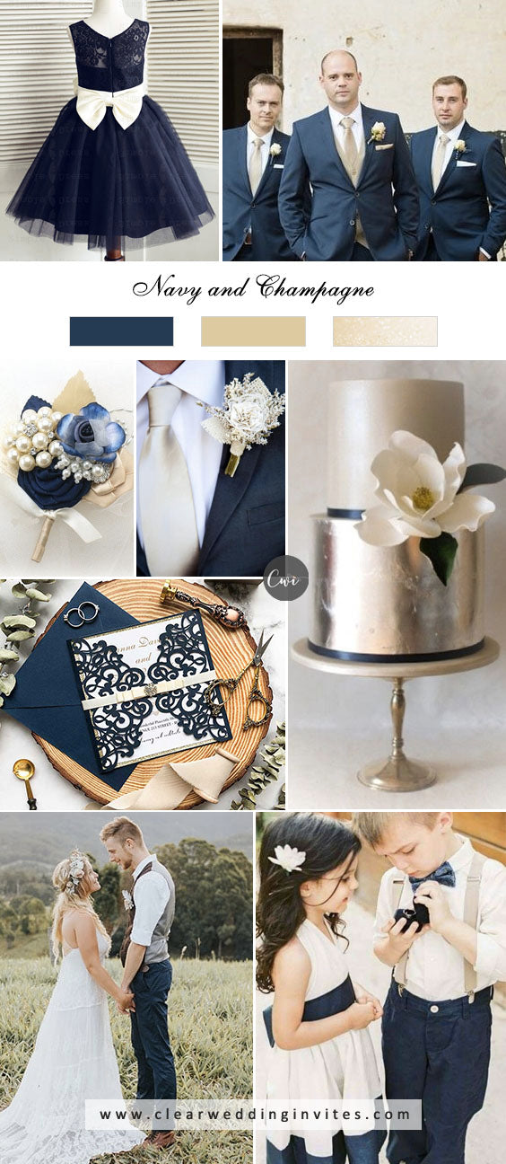 Navy and Champagne breathtaking NEUTRAL WEDDING COLOR PALETTE IDEAS in 2022
