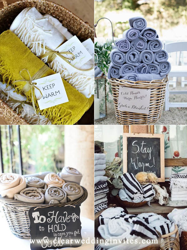 Offer blanket as wedding favors if the weather is cool