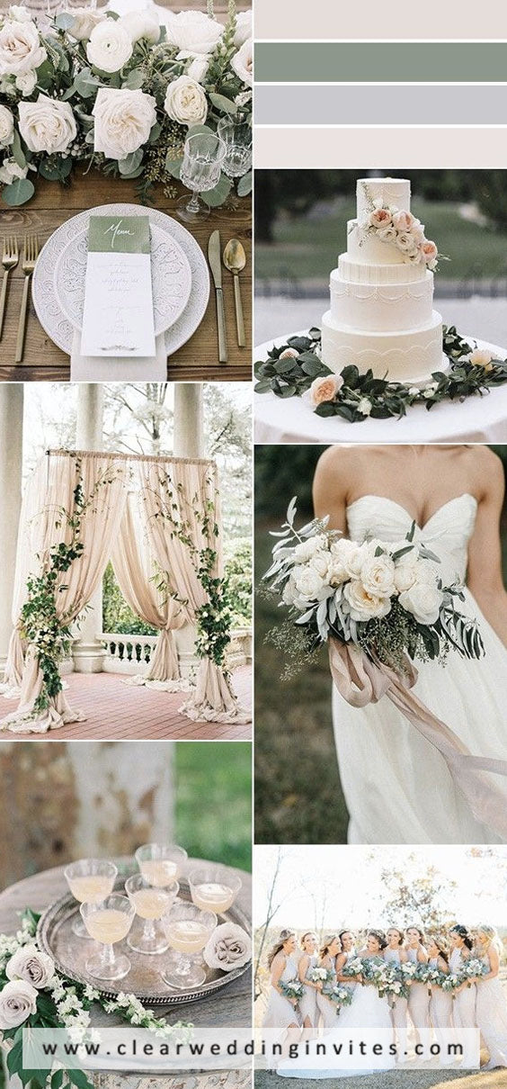 Olive green and warm beige get and your florist will be in heaven and your big day