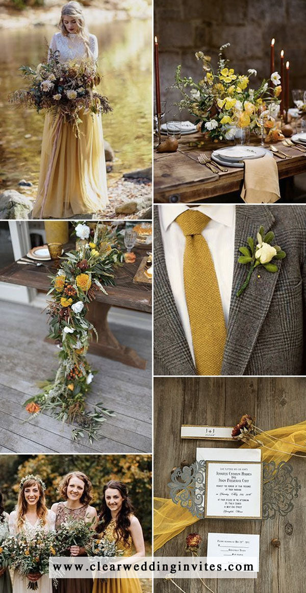 Mustard yellow and brown Gray fall wedding color ideas