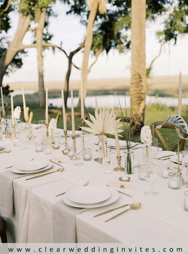 Organic Tan-and-White Place Settings at Private Estate Wedding Reception