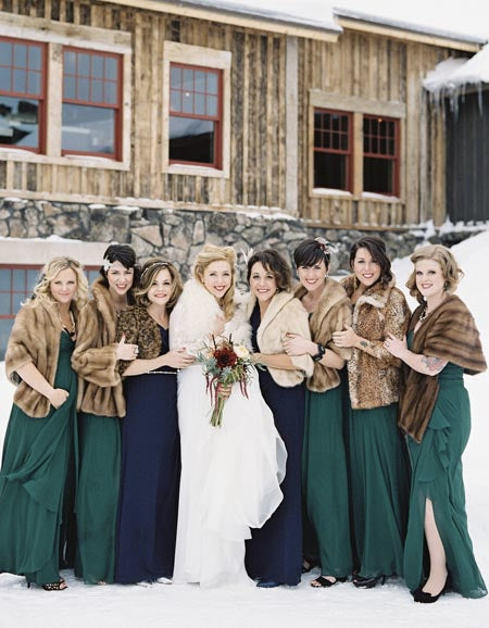 Pair your bridesmaid dress with a mink shawl