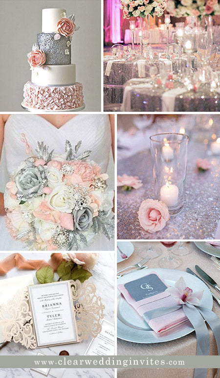 Romantic Pink and Silver Wedding Colors and Invitations in Metallic and Glitter