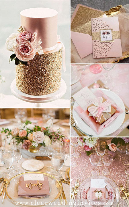 Romantic Pink and Rose Gold Wedding Colors and Invitations in Metallic and Glitter
