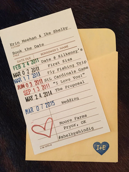 How cute is this save the date card!! Library style!! | Wedding saving, Wedding save the dates, Save the date invitations
